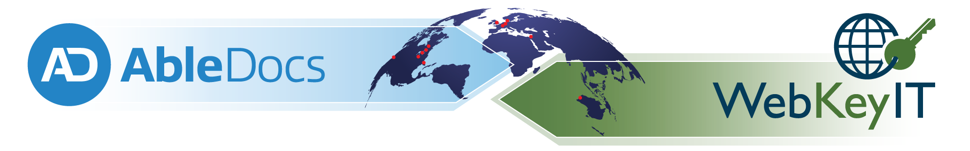 A map of the world with the AbleDocs logo in an blue arrow over North America and a green arrow with Web Key IT logo over Australasia