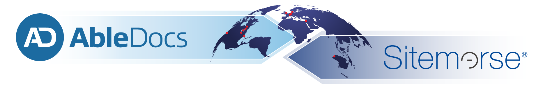 Logos for AbleDocs and Sitemorse on either side of a map of the world.